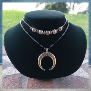 Silverskylight Jewelry - Double layer crecent moon horn silver necklace